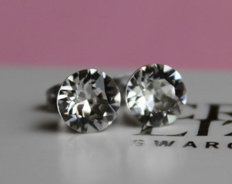 8mm Surgical Steel Stud Earrings made with Clear Swarovski Crystal Elements by LadyCJewellery
