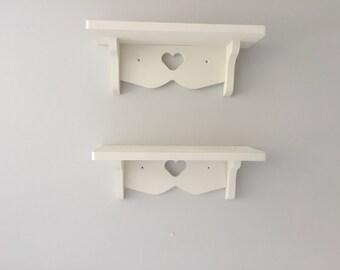 Shabby chic heart shelf x 2 shelves painted white 40cms each nursery shelves kitchen girls bedroom etc nee