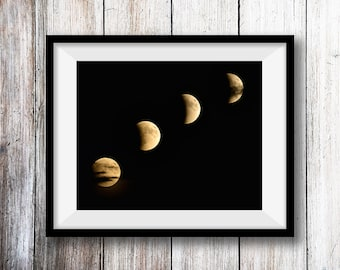 Lunar Eclipse Progression, Moon, Night Photography, Print