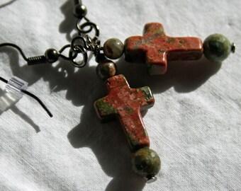 Unakite Cross earrings