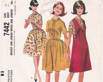 1960s McCalls 7442 Shirtwaist Dress or Jumper, Button Bodice, Flared Skirt Vintage Sewing Pattern, Size 14, Bust 34, Partly Cut