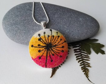 Hand Made Nuno Felt Pendant in White, Red and Yellow with Botanical Design in Black