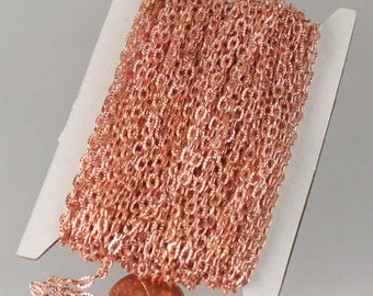 Copper Chain Bulk Chain, 32 ft of Shinny Copper finished Textured Cable Chain - 4X3mm unsoldered link