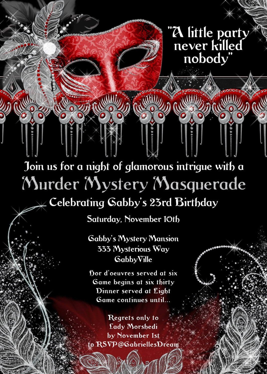 Masquerade party invitation murder masquerade murder mystery description murder mystery masquerade stopboris Images
