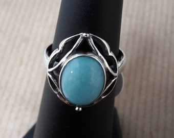 Sterling silver 925 purity with Peruvian Amazonite ring hand made in Poland