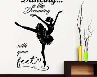 SILHOUETTE DANCER DECAL, Positive Saying, Bedroom, Living Room Wall Decor Decal, Custom Size and Colour, Lettering, Removable Vinyl