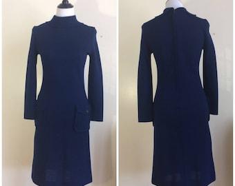 Vintage 40s Jonathan Logan Blue Dress | 1940s Midnight Blue Long Sleeve Wool Dress