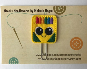 Smiling Box of Crayons Paper Clip - Happy Box of Crayons Bookmark - Decorative Planner Clip - Felt Planner Clip