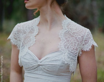 Cap Sleeve Bolero - Cap Sleeve Wedding Dress Topper - Cap Sleeve Topper - Penelope