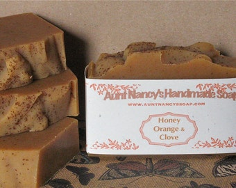 Honey Orange & Clove Handmade Soap with Goat Milk - Natural Homemade Soap Scented with Essential Oils