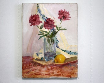 Summer Still Life Peony pink Original oil painting Lemon painting on canvas Gift for bithday Art white wall Flower oil painting Home decor