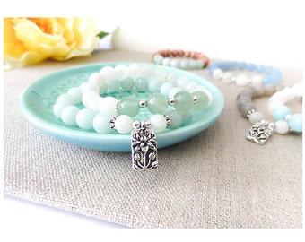 The Purifying Stack, Fertility Bracelet, Amazonite, Moonstone, Aventurine