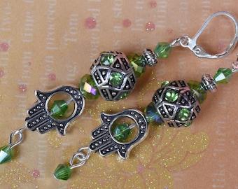 Hannuka earrings. Hamsa earrings. Kabbalah earrings. Evil eye earrings. Protection good luck earrings. Hamsa hand leverback earrings.