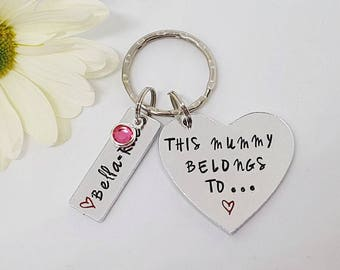 Mummy Keyring with Birthstones, Gift for Mum, Hand Stamped Personalised Keyring Keychain, This Mummy Belongs To, Mother's Day Gift