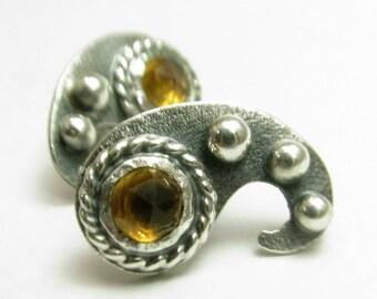 Citrine Earrings, Sterling Silver Paisley Earrings, Modern Sterling Silver Post Earrings, Metalsmith Jewelry, Small Silver Earrings