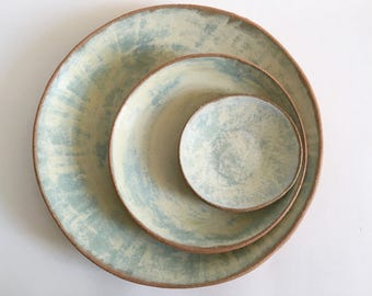 """Ceramic Dinner Plates, Salad and Dessert Plates, Tapas Plates, Made to Order Handmade Stoneware Pottery Dishes in """"Ocean"""" Blue"""
