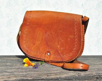Shoulder bag, shoulder bag purse, leather shoulder bag, tooled bag, tooled leather bag, tooled leather purse, leather purse women