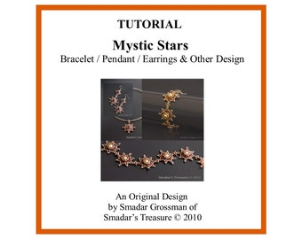 Beading Tutorial Pattern, Mystic Star Bracelet, Pendant and Earrings. Jewelry Pattern with Crystals and Pearl Beads. Beadweaving Beadwork