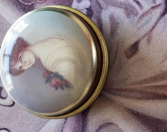 Vintage Pill Case Tin with a Lady pic!