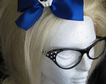 Large Royal Blue Skull Hairbow