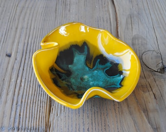 FREE SHIPPING WORLDWIDE! Artistic Handmade Ceramic Bowl, Yellow, Turquoise Pottery, Home Decor, Housewarming, Wedding Gift