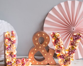 flower letter light - light up letters - floral letters - wedding initial sign - sweetheart table - rustic wedding - boho wedding