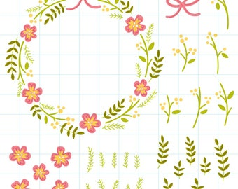 Summer flower wreath clipart - Hand drawn instant download PNG graphics - 0005