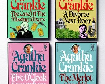Agatha Crankie's Miss Ripple, 4 Mysterious Book Covers, original framed art set by Zteven