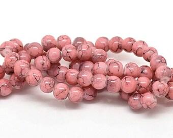 35 Pink Mottle Glass Beads 6mm - BD125