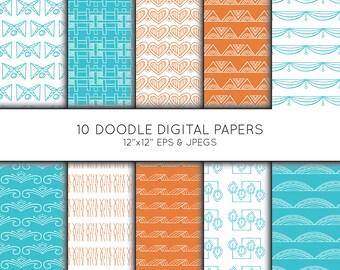 Doodle Digital Paper, Seamless pattern, Scrapbook paper, digital paper pack, digital background, Instant Download, Vector Graphics