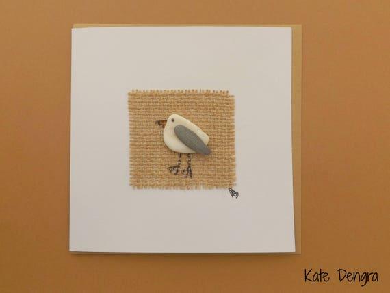Shell Pebble Seagull Greetings Card