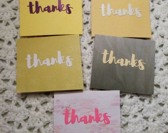 Set of 5 Thanks Cards,  Your Choice of Thanks Cards, Handmade Greeting Card, Made in the USA, #41G, 42G,43G,44G,