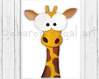 Giraffe print.  Zoo animals. Whimsical giraffe.  Kids decor.  Nursery decor. Cartoon giraffe.
