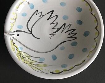 Dove Bowl | Majolica pottery