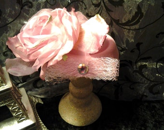 Couture Pink Silk and Velvet Rose Mini Hat