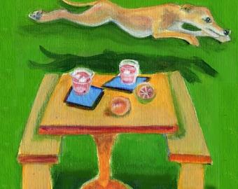 "Greyhound art card, 5"" x 5"" blank card, dog art, blank inside, greyhound painting"