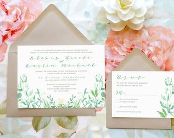 Spring Greenery Watercolor Printable Wedding Invitations - Watercolor Wedding - Nature Wedding - Spring Wedding - Garden Wedding