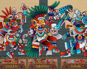 Aztec Gods // Giclee on Canvas