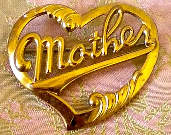 Brass Heart Mother Pin