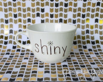 Shiny, quote text word metallic black white cup wide