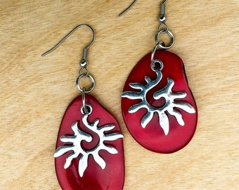 TAZZIL EARRINGS - red tagua nut with sun charm