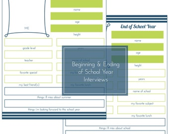 Beginning and Ending of School Year Interview -- First Day of School Prep -- In Blue and Green