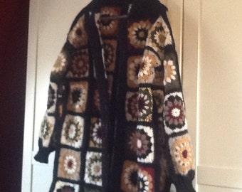 The granny square coat, cardigan crochet in wool