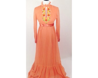 Vtg 1960s Orange Valley of the Dolls Maxi Dress / Sharon Tate