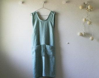 LINEN DRESS / artist smock / linen cafe apron / linen pinafore dress / duck egg blue / women linen clothing / made in australia / pamelatang