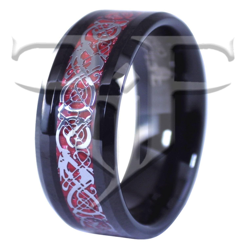 black tungsten ring celtic dragon ring black tungsten red