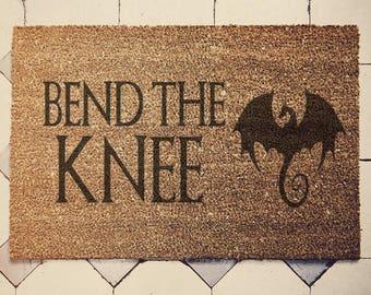 """Game of Thrones inspired doormat coconut """" Bend the knee """" door mat danerys"""