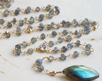 Labradorite Beaded Rosary Lariat Necklace with Cubic Zirconia and Marquis Labradorite