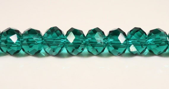 Teal Crystal Beads 6x4mm Teal Green Faceted Rondelle Chinese Crystal Beads on an 8 1/2 Inch Strand with 49 Beads
