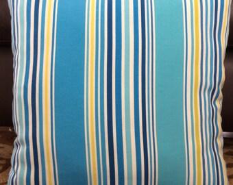 Turquoise Blue Yellow Outdoor Zippered Throw Pillow Cushion Cover // Striped P. Kaufmann Designer Pillow // Coastal Pillows All Sizes